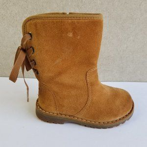 Baby UGG Corene Suede Tie Back Slip On Structured Boots in Chestnut Size 6T